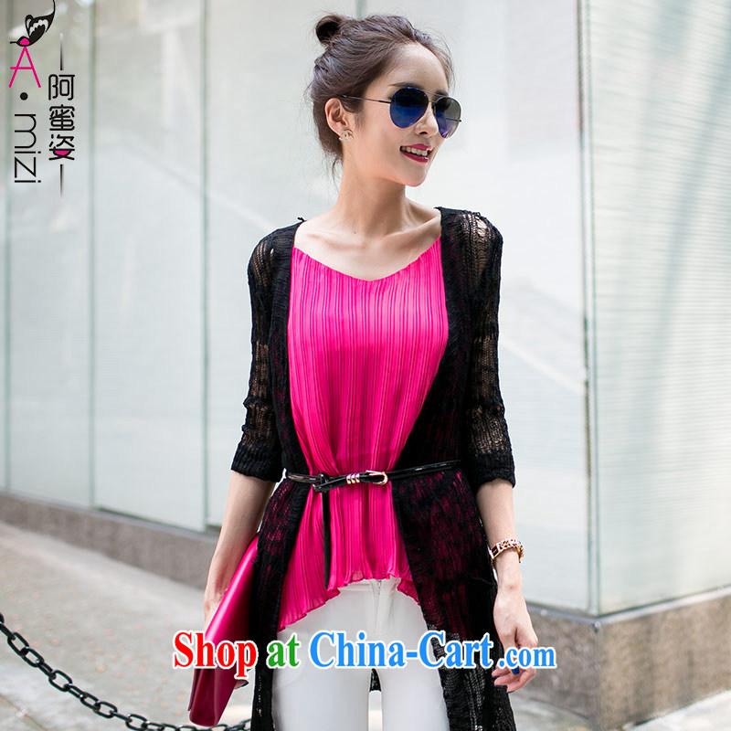 The honey and diverse large code female new summer wear thick MM Europe video thin Openwork long sunscreen shirt knitting cardigan women 8766 black XXL