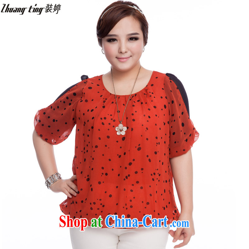 The Ting zhuangting fat people graphics thin 2015 spring and summer new products, ladies fashion style in stamp duty cuff snow woven shirts Q 6024 orange 5 XL