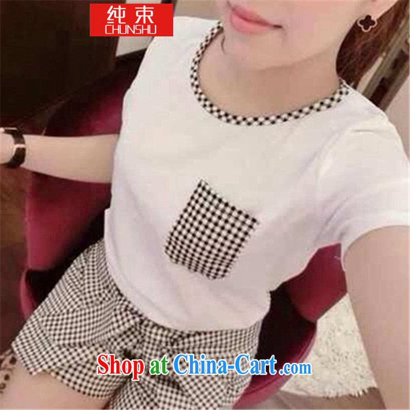 Pure beam summer 2015 Sau San-based short-sleeved round-collar tartan Korean version are code summer girls with 1000 birds T cotton shirts shorts package GB white are code