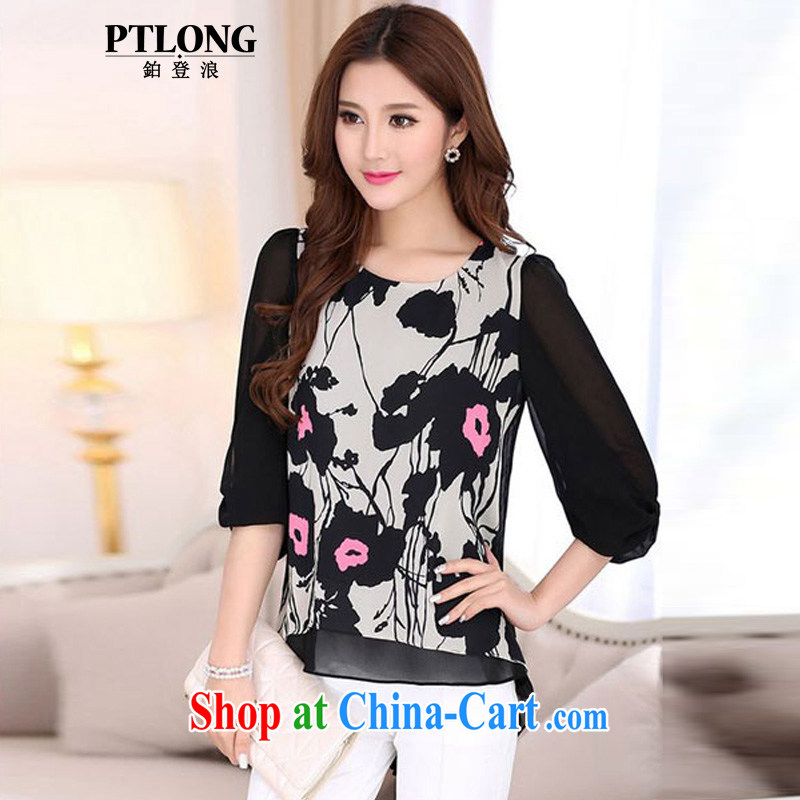 The PTLONG Code women summer Ethnic Wind the snow pattern woven shirts mm thick and fat XL T-shirt MOM replace summer picture color XXL