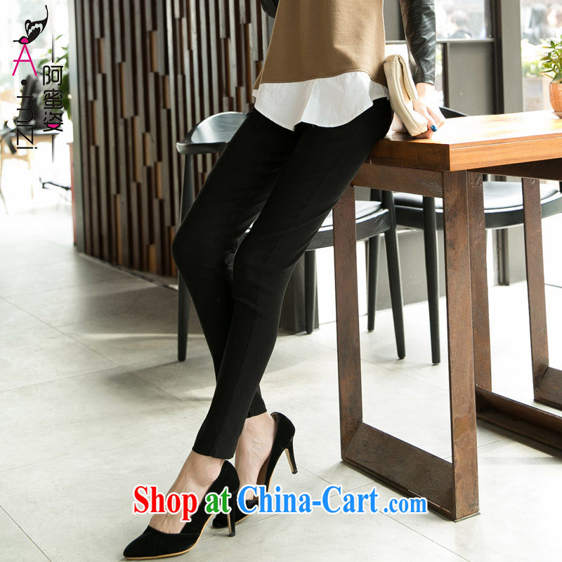 The honey beauty new summer mm thick larger female stretch Elastic waist candy solid color trousers castor pants trousers women 8730 black XXXL