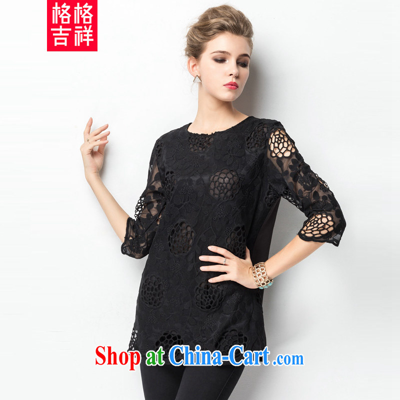 Huan Zhu Ge Ge Ge 2015 the code female spring and summer new, thick, cultivating graphics thin Openwork lace hook take 7 sub-cuff shirt T female T-shirt ZR 1323 black 3 XL (suitable for 160 - 180 jack)