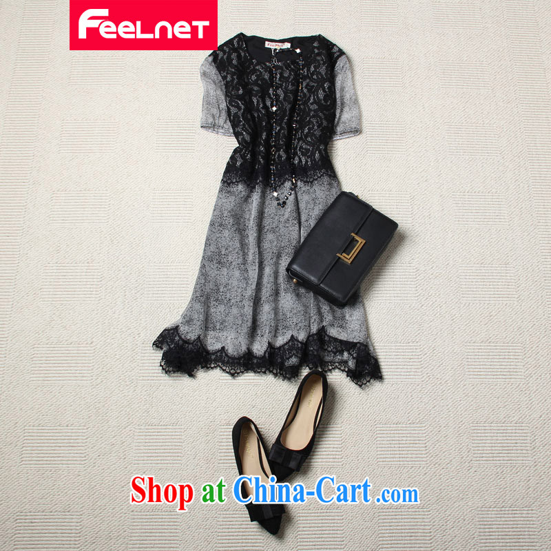feelnet larger female 2015 summer New American and European short-sleeved skirt lace XL dress 1407 black large code 5 XL