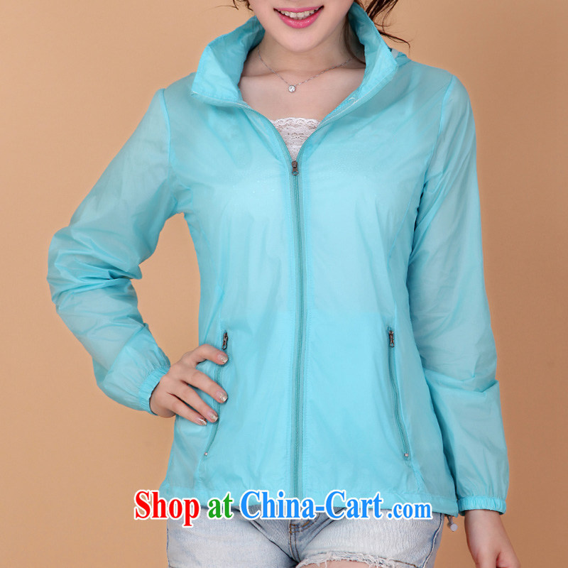 The line between a new, larger jacket loose the code female windbreaker couples with couples jacket sunscreen shirts 2408 - 1 light blue 3 XL