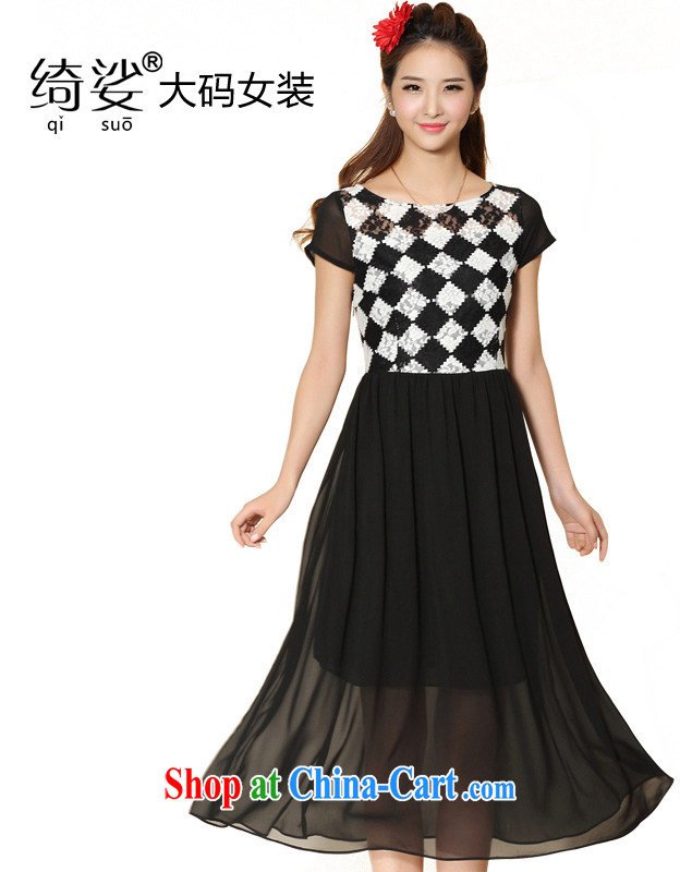 cheer for 2014 summer new XL girls thick MM lace, thick sister graphics thin short-sleeved dresses long skirt the number 2070 black 3 XL