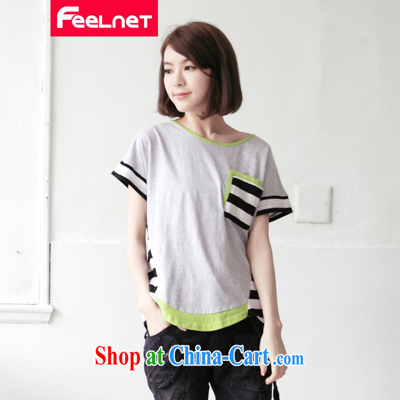 feelnet larger female summer new Korean very casual short-sleeved T-shirt striped XL T pension 2123 large gray code 5 XL