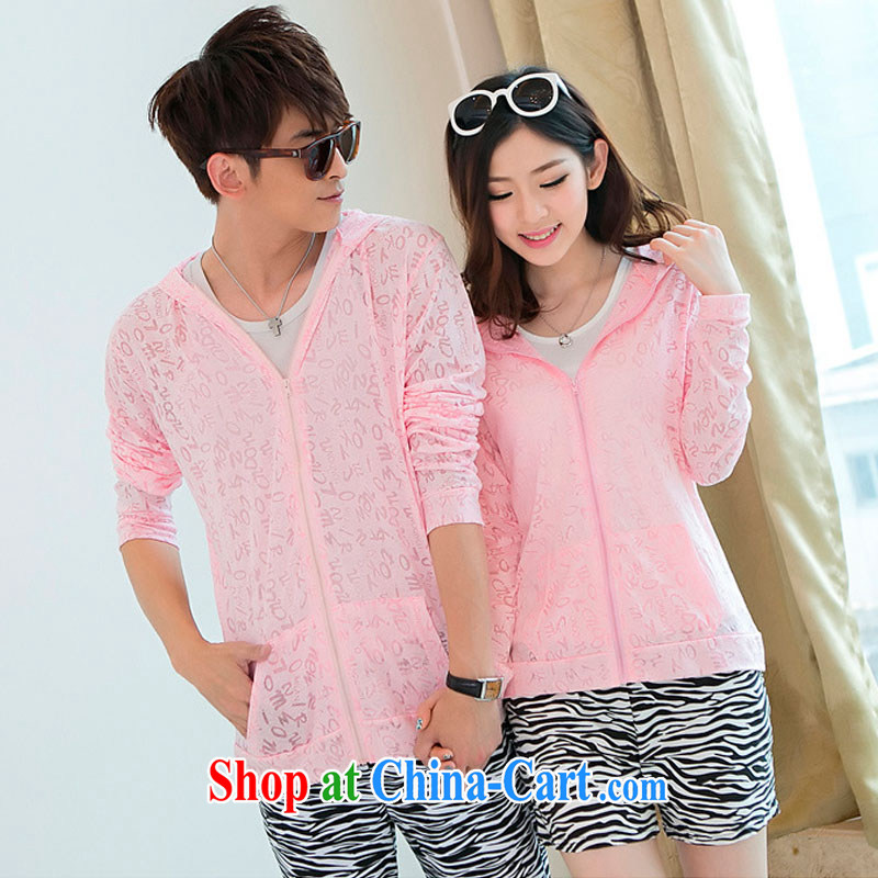 Support the colorful nickname, summer 2014 Korean honeymoon beach with sunscreen and clothing couples beach clothing jacquard thin swimming jacket Y 9874 pink XXXL