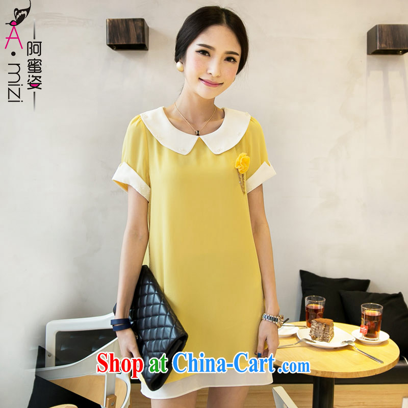 The honey and diverse Korean thick mm larger female summer doll for graphics thin loose snow woven dresses women with chest spent 8339 yellow XXXL