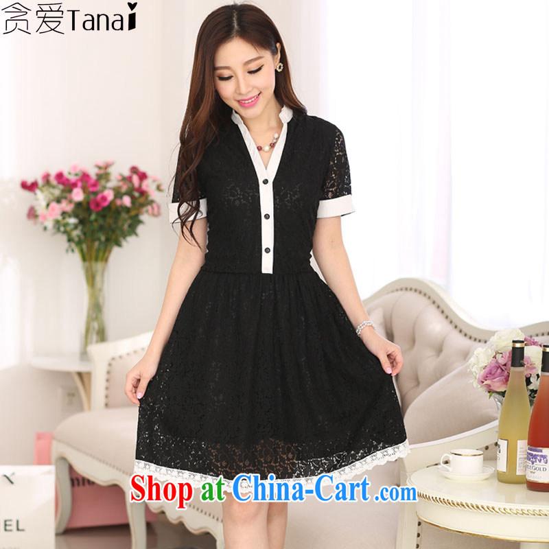 Loved XL girls thick sister summer new funds waist graphics thin short-sleeve girls lace dress 3029 black XXXL