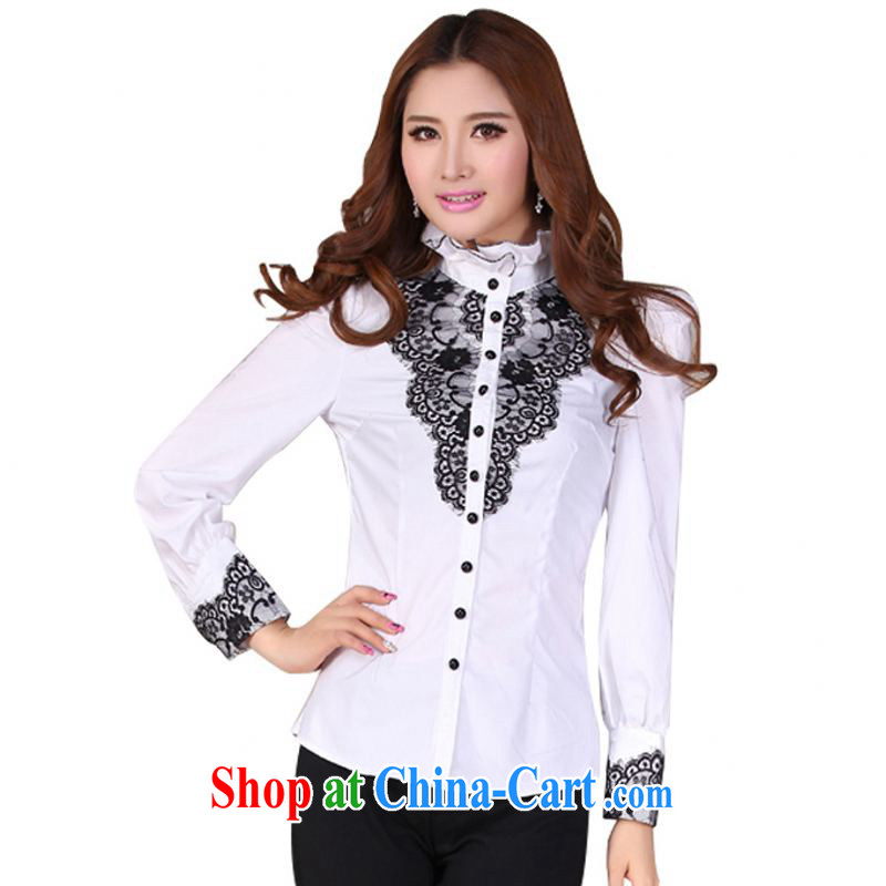 The delivery package as soon as possible the autumn 2014 with the Code High Court lace up collar occupations shirt larger graphics thin long-sleeved shirt mm thick T-shirt white white XXL approximately 140 - 150 jack