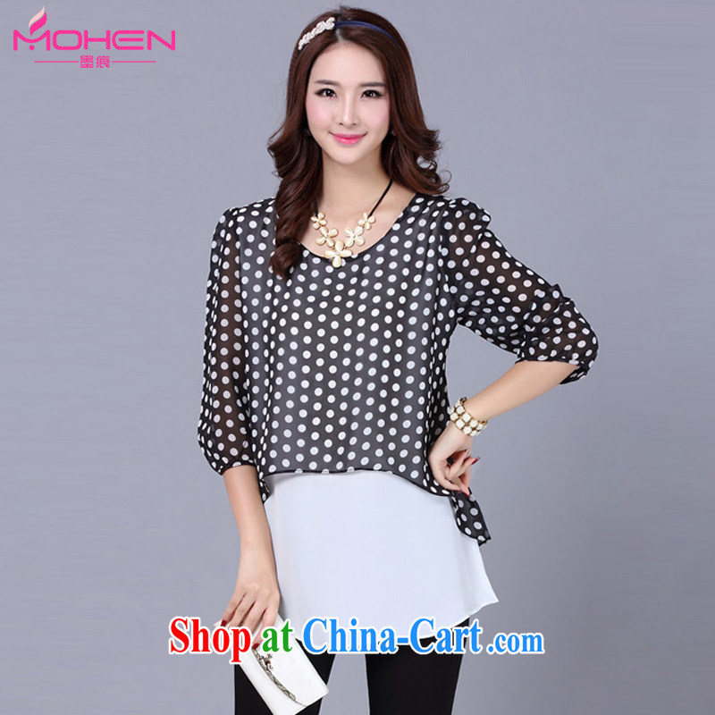 The ink marks 2015 spring and summer mm thick new Korea and indeed XL female wave point leave of two in snow cuff woven shirts black 5 XL