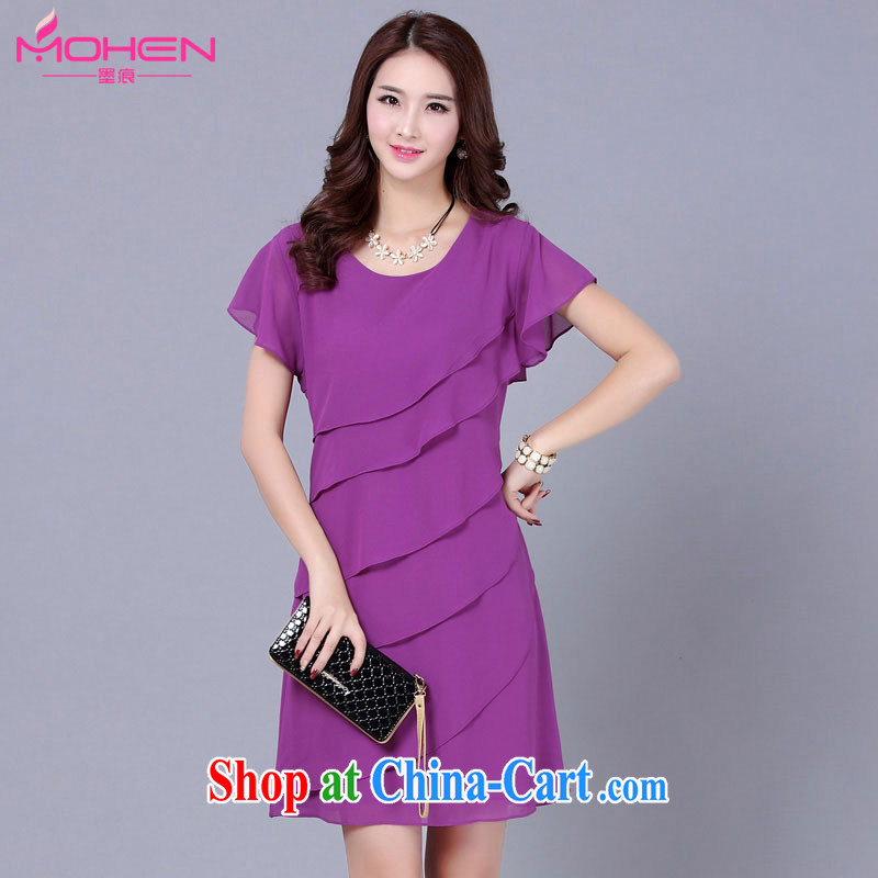 The ink marks 2015 summer Korean version mm thick and fat XL snow woven dress zig-zag graphics thin flouncing dress the code is not snow rules woven dresses purple 4 XL