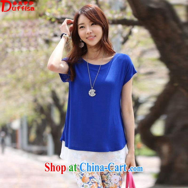 flower girl Isabelle 2014 summer new thick MM and indeed XL loose video thin ice woven stitching leisure T shirt T-shirt woman blue 6 XL