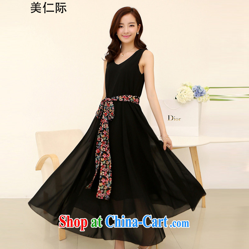 The US, the Bohemia, new summer XL female loose thick sister long skirt 4 XL snow woven dresses MJ 165 black XXXXL