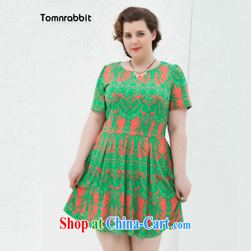 Tomnrabbit summer 2014 the Stamp Duty Code dress dresses and indeed increase short-sleeved round-collar thick mm skirt green code L