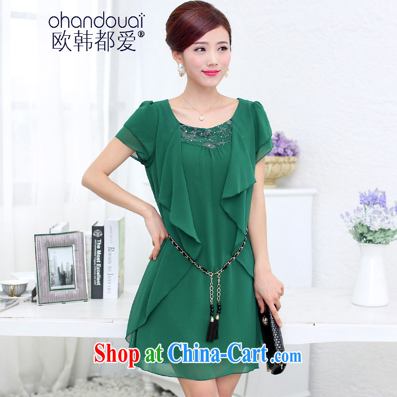 The Love 2015 fashion beauty graphics thin short-sleeved the code load snow woven dresses OH 308,009 dark green 4 XL