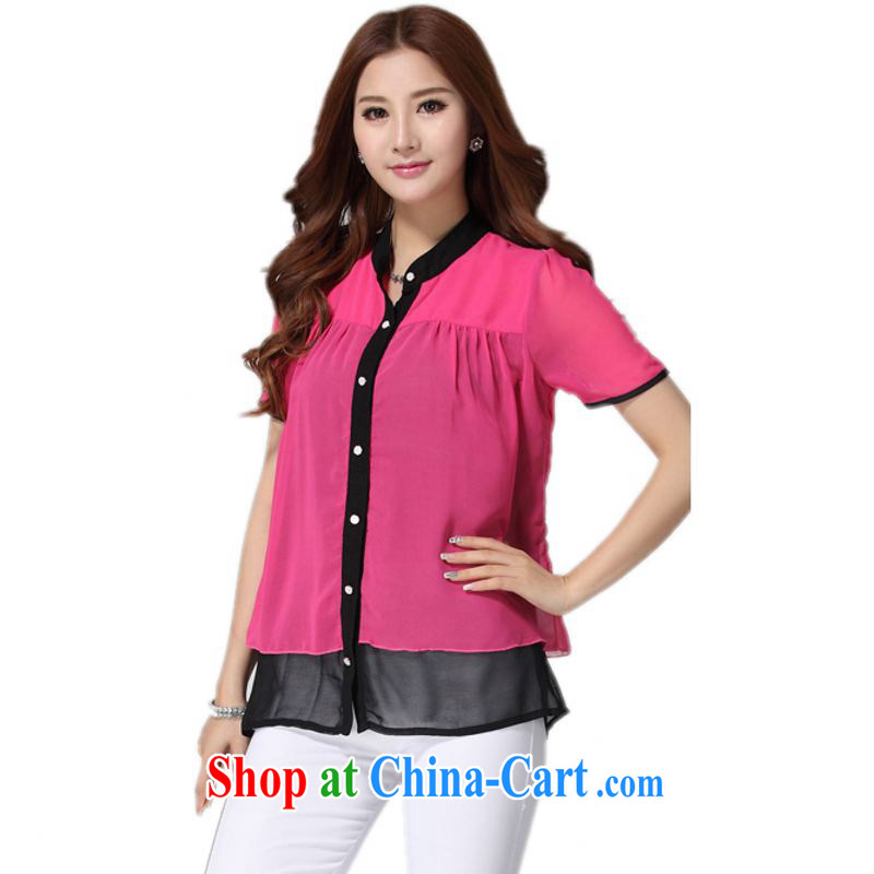 The delivery package as soon as possible by the ventricular hypertrophy, snow-woven shirts 2014 new summer hot Korean fashion hit color shirt short-sleeved thick m professional ethos of OL red 4 XL approximately 175 - 190 jack