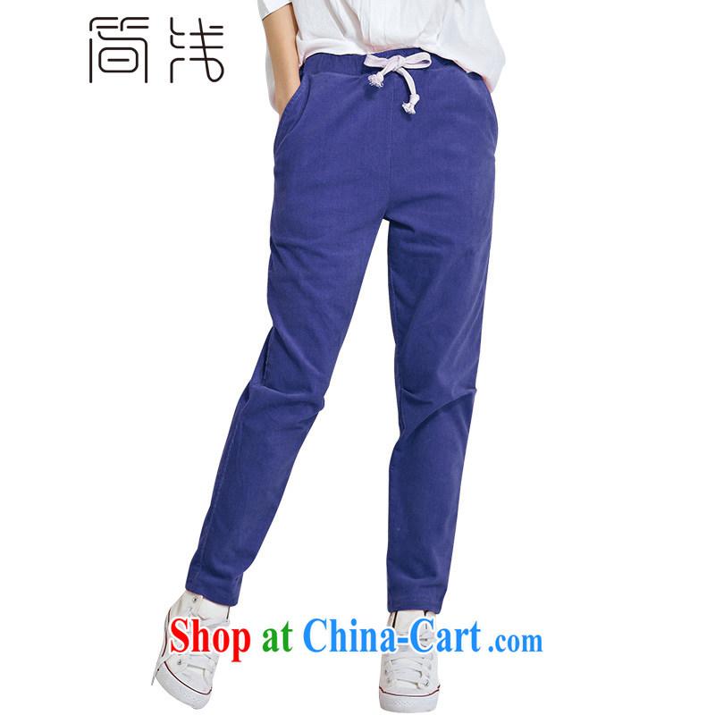 In 2015 a new king, female spring loaded corduroy castor pants female fat, female video thin, summer girl pants 1183 denim blue 5 XL
