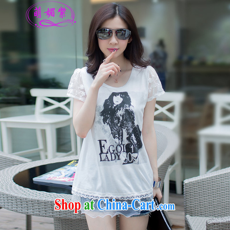 So, first year 2015 summer lace T-shirt graphics thin short sleeved shirt T female M 1966 white XL