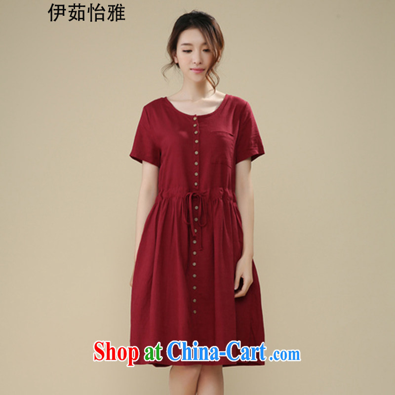 The Ju-Yee Nga summer new, larger female short-sleeved and indeed increase fat, Video thin cotton Ma short-sleeve dresses YS 26,086 wine red XXL