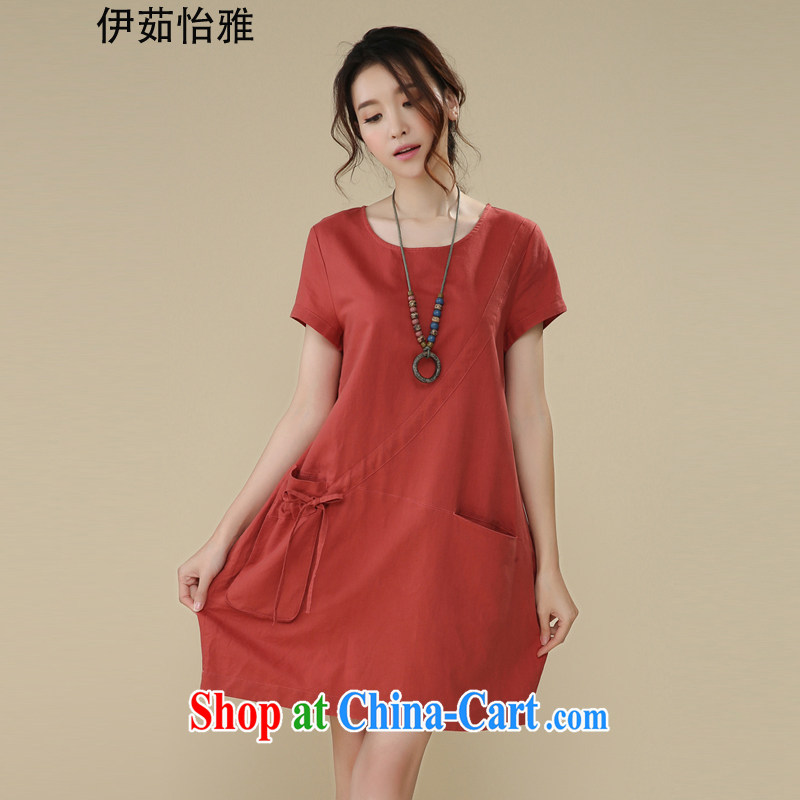 The Ju-Yee Nga summer the Code women's clothing thick sister graphics thin, Korean short-sleeved cotton Ma dresses YS 26,180 red XXL