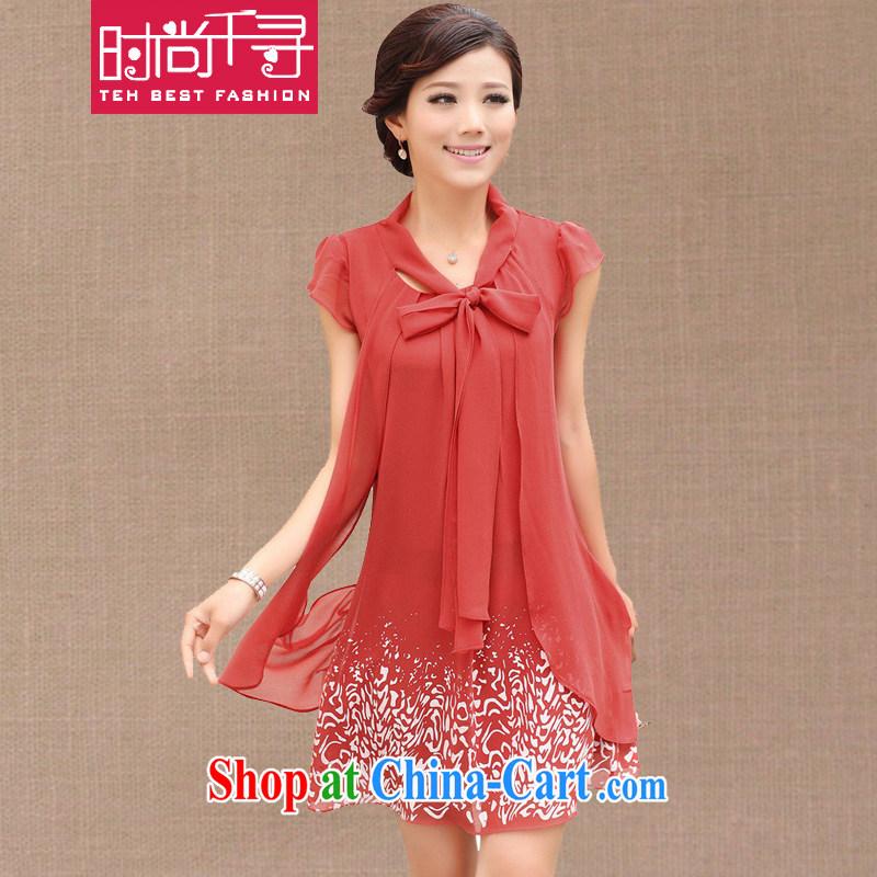 Stylish 1000 hunt 2015 Korean version emulation, stamp duty snow woven dresses loose the Code women leave two long, snow-woven dresses S 147,829 watermelon red XXXXL