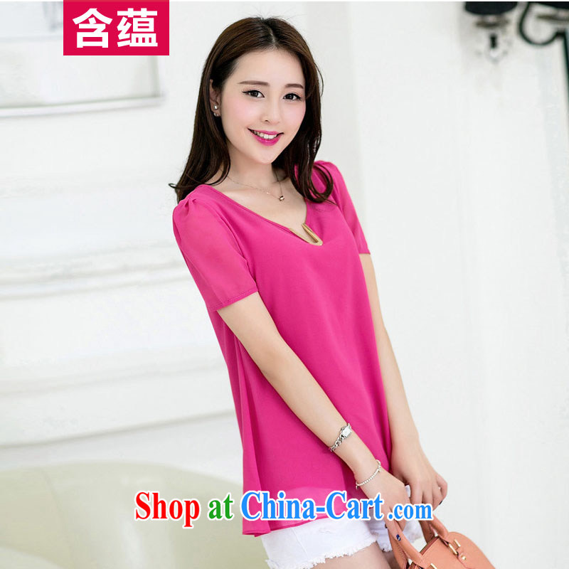 A test-ban 2014 summer new Korean candy color the code quality cool snow woven shirts short-sleeved T-shirt girls rose red XXL