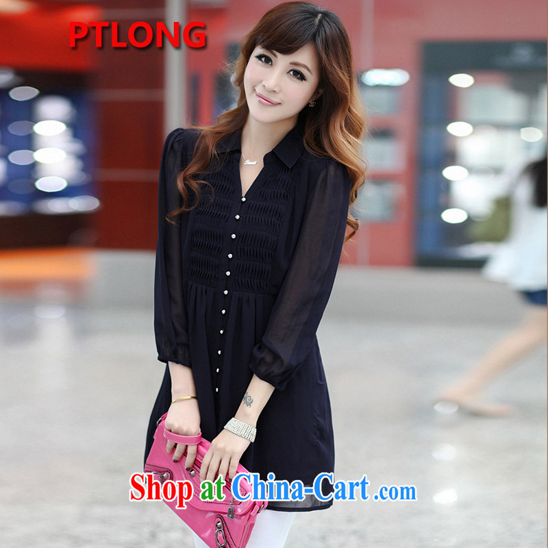 Platinum sign wave (PTLONG) code female Korean snow woven shirts thick mm and indeed increase code 9 cuff lapel shirt dark blue XXXXXXL