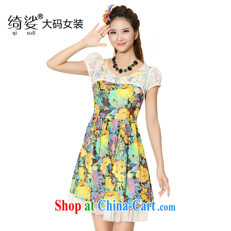 cheer for 2014 XL girls with thick MM summer new lace fancy thick sister-in-law Video thin short-sleeved dresses item no. 2099 green 2 XL
