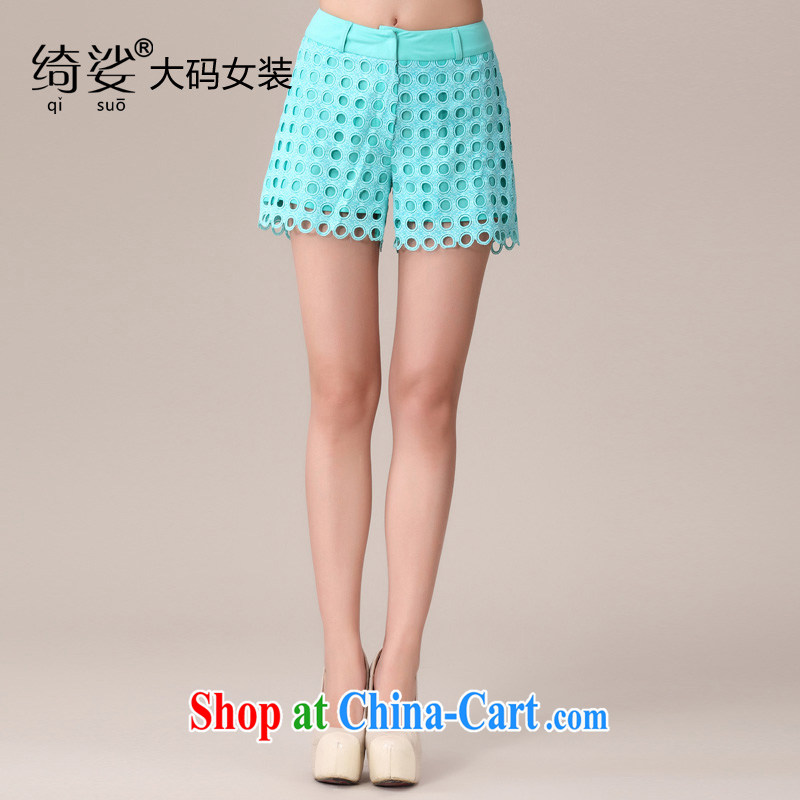 cheer for 2014 XL girls thick MM summer New Wave point Openwork thick sister graphics thin large code small shorts item no. 1980 blue 4 XL