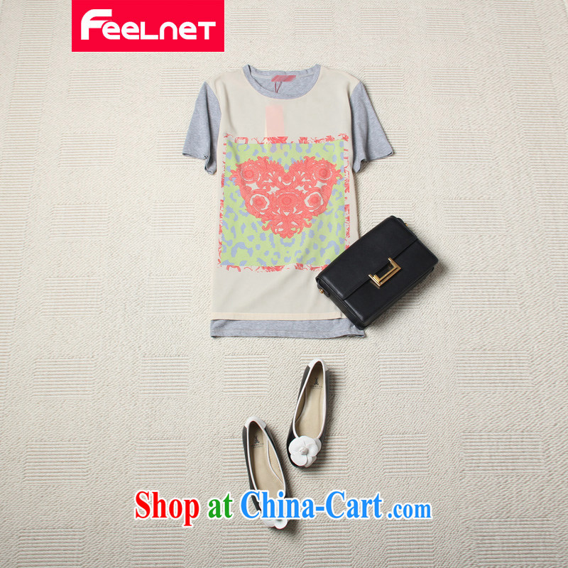 Korean version mm thick summer 2015 the code blouses stamp snow woven stitching cotton is not rules short-sleeved shirt T 2111 light gray large code 6 XL