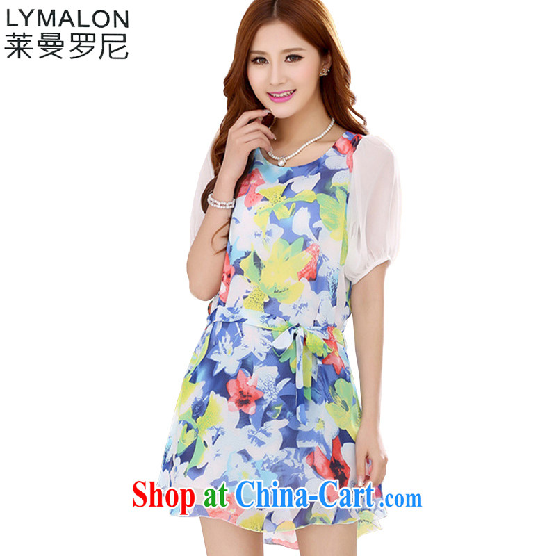 Lehman Ronnie lymalon payments summer 2015 new, thick, thin significantly larger female stylish short-sleeve snow woven dresses suit 7039 3 XL