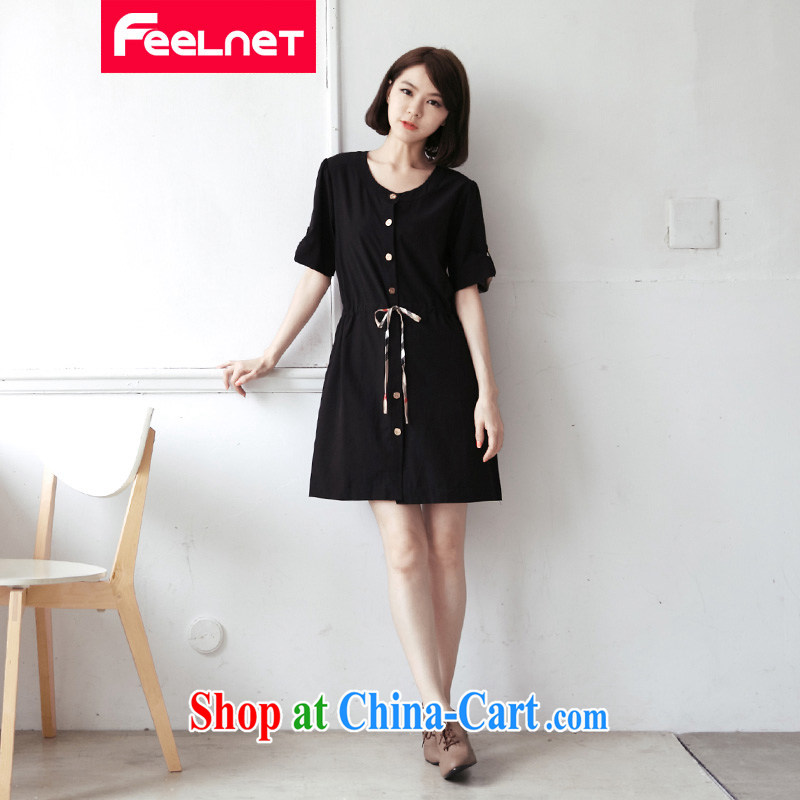Ms. feelnet larger female Korean version 2015 summer new thick MM graphics thin drawcord XL dress 1442 black 3 XL