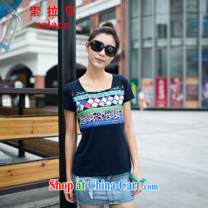Solabe_in the Addis Ababa, female summer short sleeved shirt T Ethnic Wind party leader bat sleeves and stylish stamp thin, graphics thin T-shirt 7608 mm blue XXL