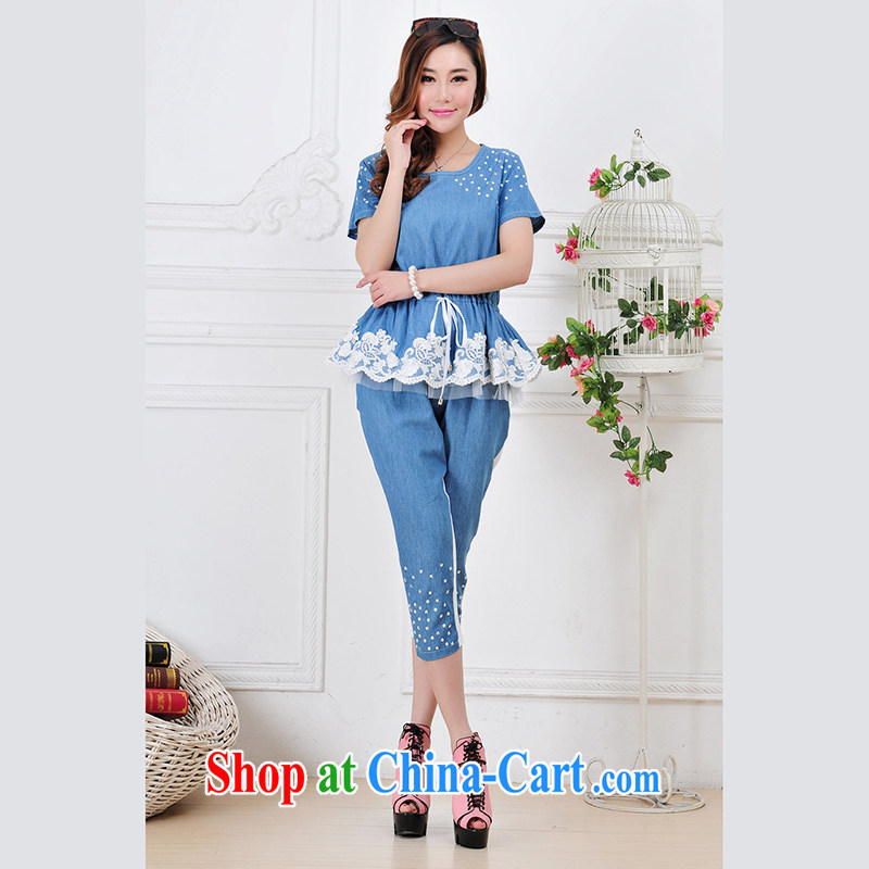 The sheep Yi Library 2014 summer new, larger female ultra-thin cowboy hot drill lace leisure video thin belt 5 female package set 2863 pants jeans blue L