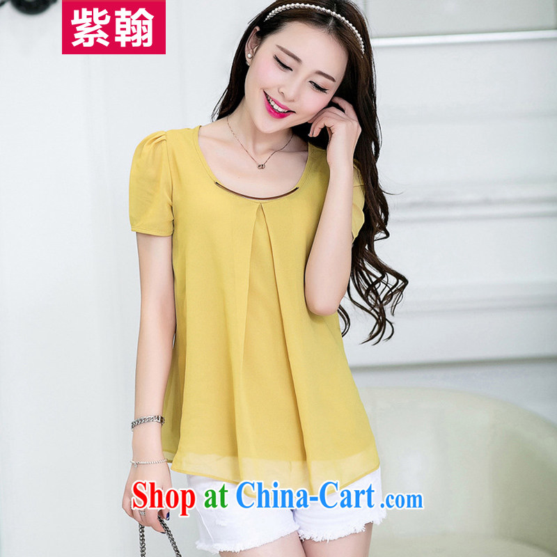 First Han Han edition 2015 summer Women's clothes new candy-color the code quality cool snow-woven shirt short-sleeved T-shirt turmeric XXXL