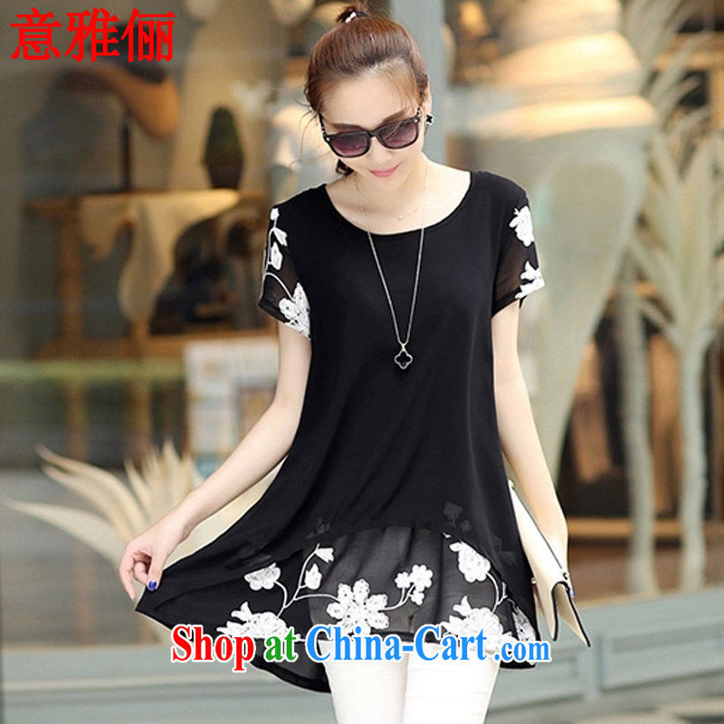 Jacob was an 2015 spring and summer, the Korean version of the greater code girls with short-sleeved snow woven shirts loose video thin thick MM dresses YF 6018 black XXL