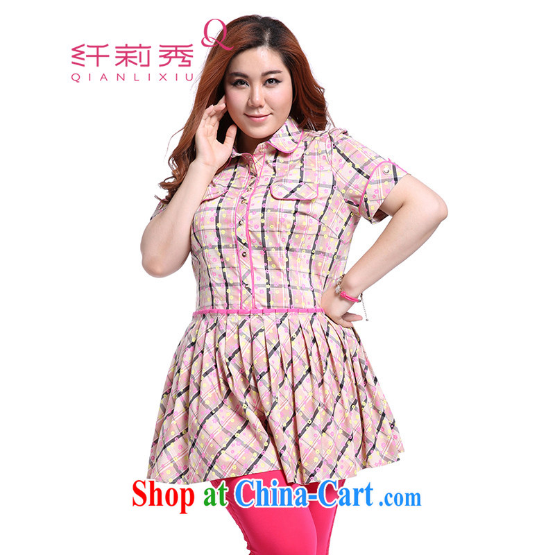 Slim Li Sau-summer new, larger female cotton sweet-floral plaid stitching cultivating graphics thin 100 hem skirt with short dresses Q 3908 peach XXXL
