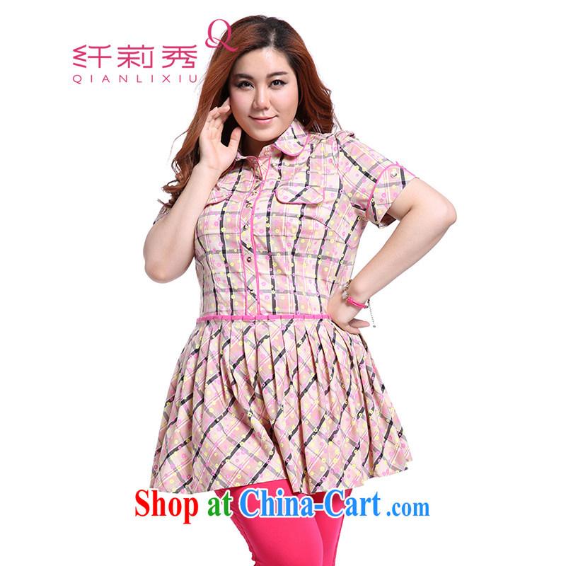 Slim Li Sau-summer new, larger female cotton sweet-floral plaid stitching cultivating graphics thin 100 hem skirt with short dresses Q 3908 peach XXXL