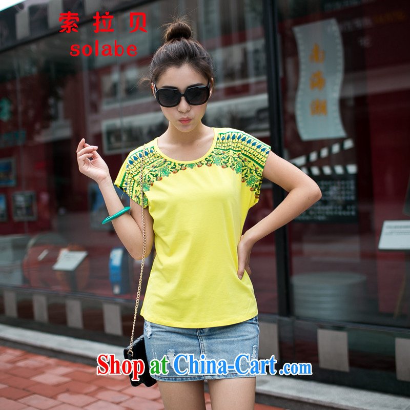 Solabe/in the drop-down at the code's summer short-sleeved shirt T Ethnic Wind round-collar bat sleeves and stylish stamp thin, graphics thin shirt MM 7609 yellow 3 XL