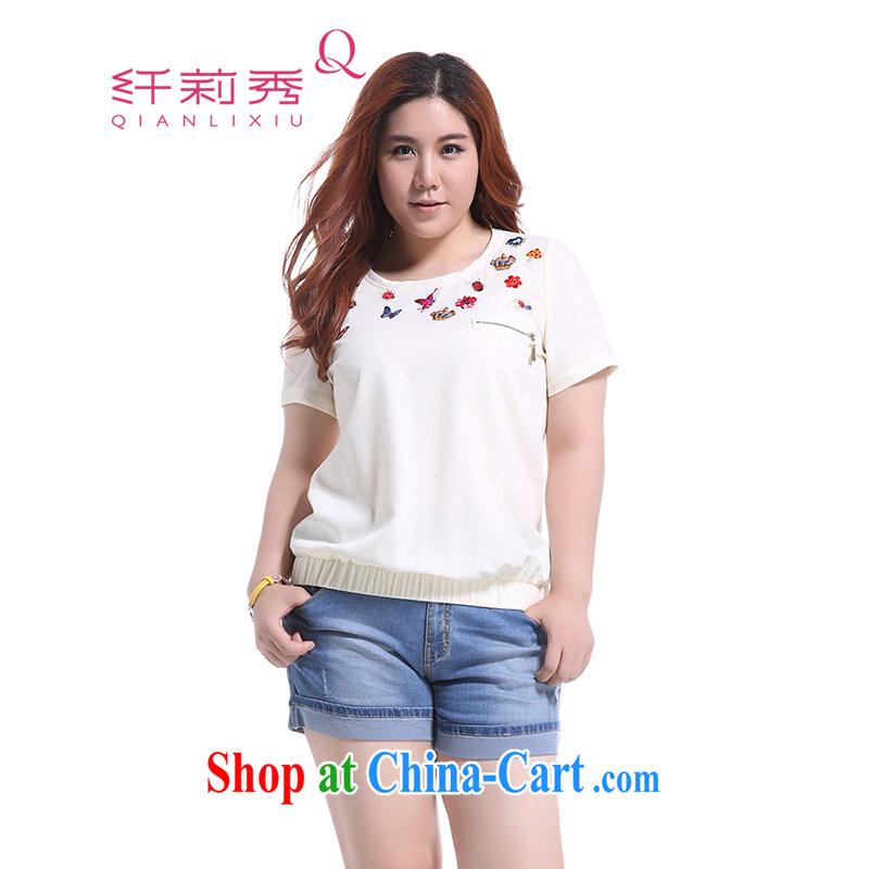 Slim Li-su summer 2014 new, larger female 100 ground round-collar elastic garment is amazingly simple embroidered short sleeve T-shirt 3960 Q white XXXXL