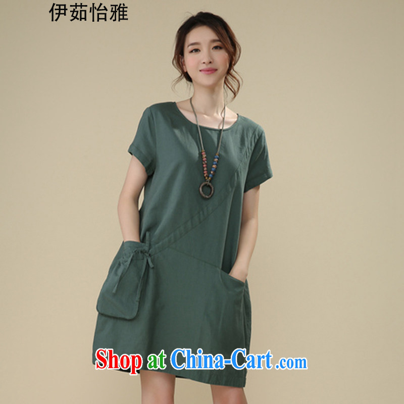 The Ju-Yee Nga summer new thick sister graphics thin, the fat increase Korean short-sleeved larger women Commission cotton dress RS 26,160 green XXL