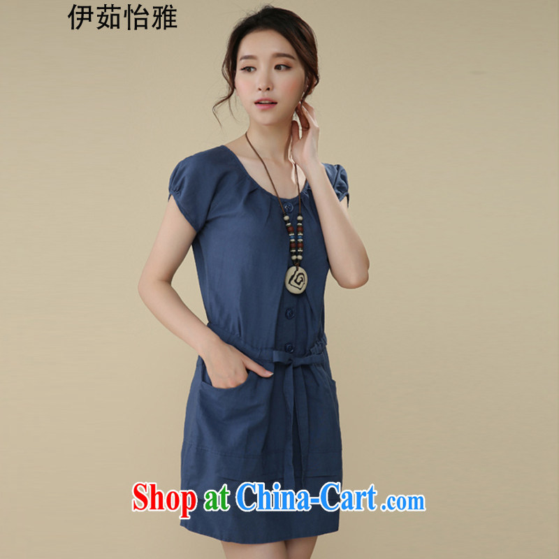 The Ju-Yee Nga larger female summer denim dress new thick sister graphics thin short-sleeved cotton Ma dresses RS 20,565 Tibetan youth XXL