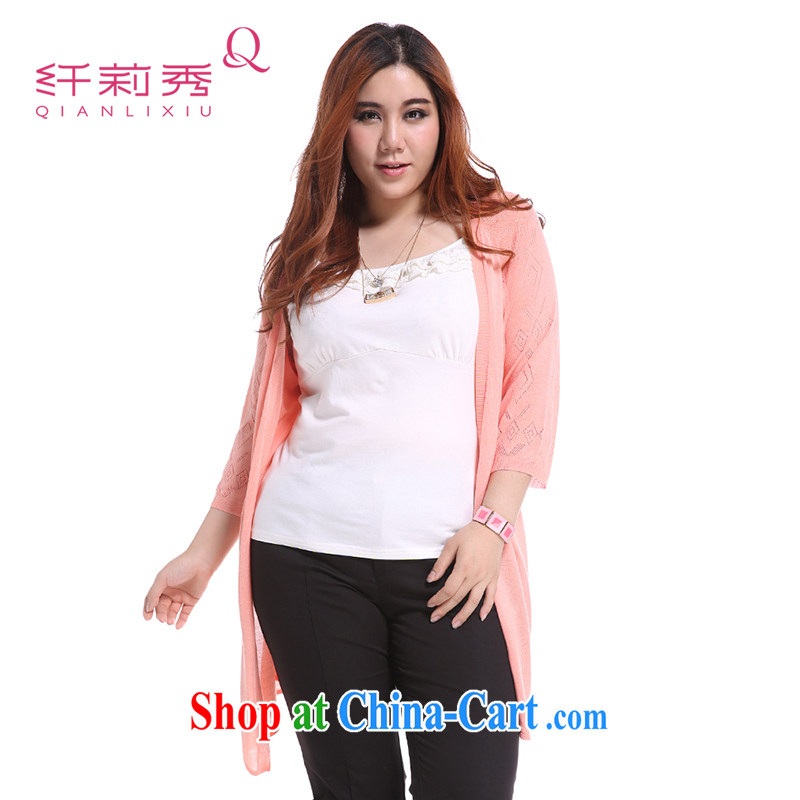Slim Li-su summer 2014 new larger female Korean version 100 V ground for thin Openwork long knitting cardigan Q 5081 pink XL