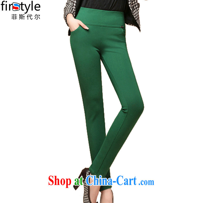 Donald Rumsfeld, the Summer 2015 new larger female pants girls pants and stylish high-waist pants solid green valley 10,366 green 4 XL