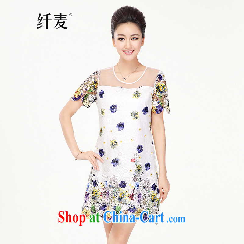 The Mak is the women's clothing 2014 summer new thick mm stylish snow woven floral beauty short-sleeved dress suit 4715 XXL