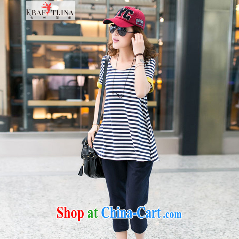 card can be Lin, summer 2014 new, large, female liberal stripes short-sleeved T shirts 7 pants kit fat people video thin sport and leisure package thick sister summer blue stripes Kit 4 XL