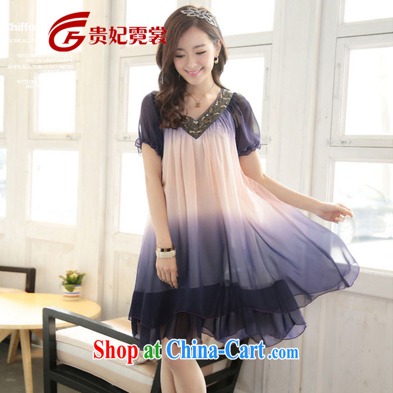 Summer new mm thick Korean king, female short-sleeve gradient snow woven dresses 200 Jack loose V collar dresses 082 violet gradient 4 XL weighing about 200 jack