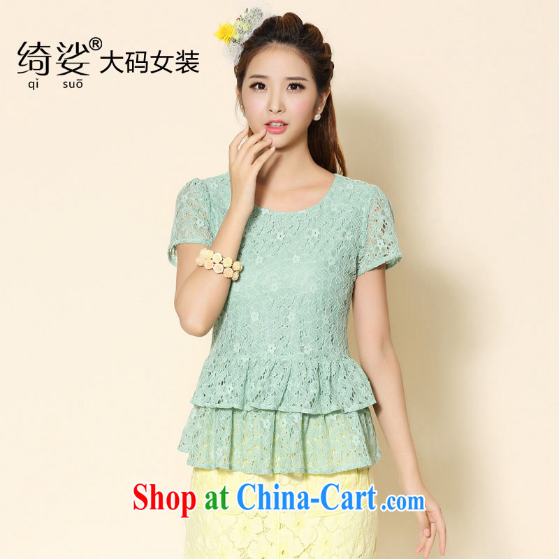 cheer for 2014 XL girls with thick MM summer new lace thick sister graphics thin large flouncing short-sleeved item no. 2093 light green 3 XL