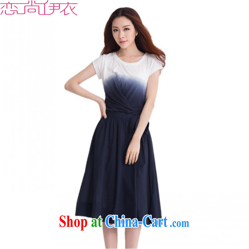 The package mail and ventricular hypertrophy, female dresses 2015 new summer wear tie-dye cotton leisure the short-sleeved, long skirt temperament OL skirt ladies blue dress with 4 XL approximately 170 - 190 jack